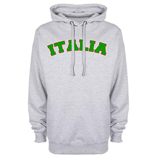 Di Scritta Per Tifosi Con Calcio Cappuccio Felpa Italia Grey xqw7YUn