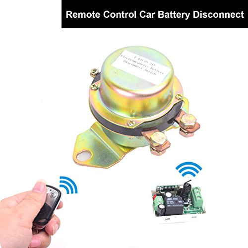 Car Wireless Remote Control Battery Switch Disconnect Latching Relay Anti-theft, E-KYLIN DC 12V Electromagnetic Solenoid Valve Terminal Master Kill System (Remote Box Relay)