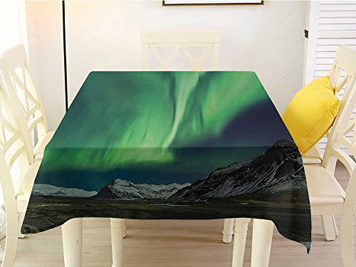 Restaurant Square Tablecloth Northern Lights Flash of Aurora Polaris Above Mountains in Night Picture Jade and Army Green Blue Grey White 36 x 36 Inch