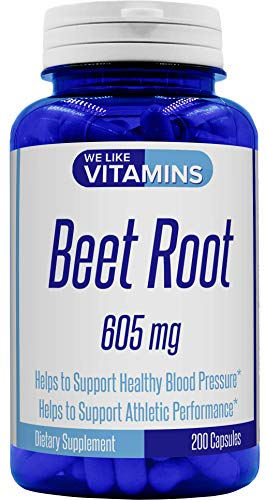 Pure Beet Root 605mg 200 Capsules (Gluten Free) - Beet Root Capsules - Help Lower Blood Pressure and Improve Athletic Performance with Beet Root Extract.