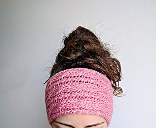 Quartz Cables - Chunky Cable Knit Ear Warmer Headband, Thick and Cozy Ear Warmer - Rose Quartz