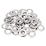 Tcplyn Flat Washers Durable Repair Washers Insulation Gaskets Stainless Steel Pads Kit for Fixing Application Use 100PCS Silver