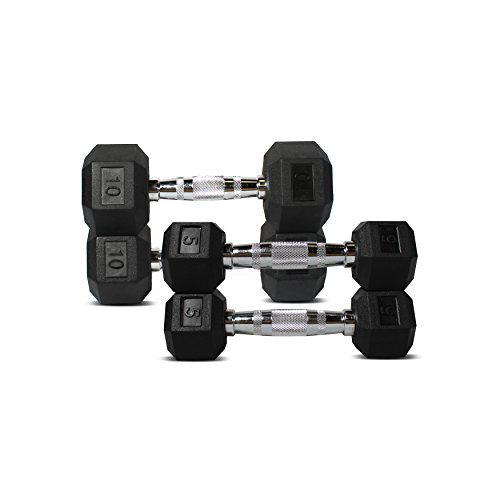 Gym Rubber Coated Hex Dumbbells, Chrome handles (Combo: 5lb & 10lb pairs)
