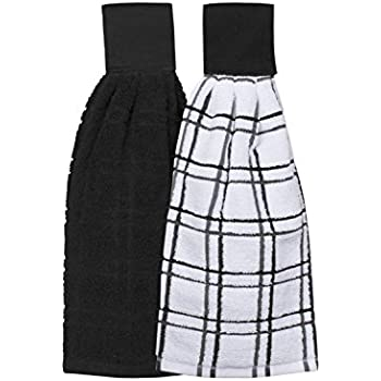 Ritz Kitchen Wears 100% Cotton Checked & Solid Hanging Tie Towels, 2 Pack, Black, 2 Piece