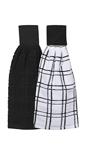 Ritz Kitchen Wears 100% Cotton Checked & Solid Hanging Tie Towels, 2 Pack, Black, 2 ()
