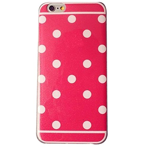 Circle Dots Phone (iPhone 6 6S Case, Rosy Passion Candy White Circle Style Cute Little Spot Loop Design Sparkling Flash Glint Fashion Smooth Soft TPU Case for iPhone6 and iPhone6S (Candy Rose Red with Dot))