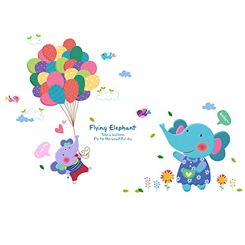 Boodecal Flying Elephant Wall Decals Hot Air Balloons Animal Vinyl Wall Stickers for Baby Nursery Bedroom Living Room 2931 Inches
