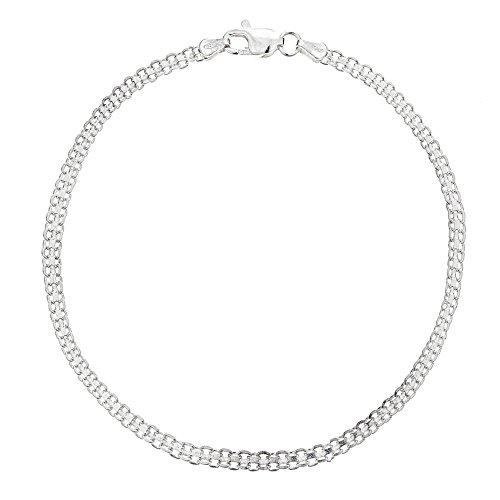 (Ritastephens Sterling Silver Italian Bizmark Chain Anklet Ankle Bracelet with Lobster Lock 3mm (11