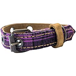 Mayan Pet Collar For Cats & Small Dogs (8.25 - 12.25 Inches) Handmade by Hide & Drink :: Tropical Purple