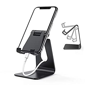 ORIbox Cell Phone Stand, Adjustable Phone Stand for Desk, Aluminum Desktop Solid Universal Desk Stand, Compatible with…