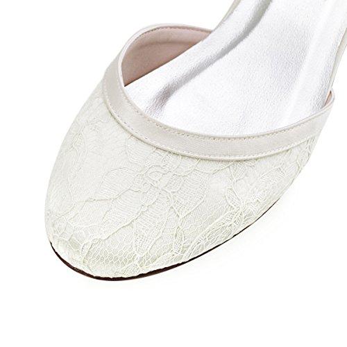 chiusa da da punta HC1620 donne tacco sposa largo raso scarpe basso sposa ElegantPark fibbia e Avorio pizzo t68qngq