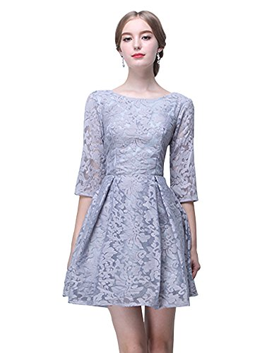Juwel A Kleid mit Erosebridal kurze Spitze Brautjungfer line Grau Ärmeln EYwU7wd