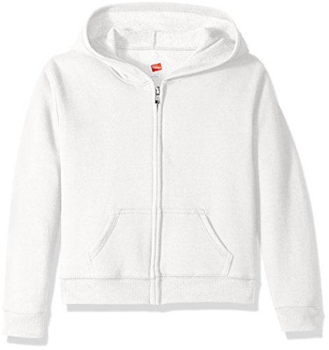 Hanes Girls' Big Girls' Comfortsoft Ecosmart Full-Zip Fleece Hoodie, White, S