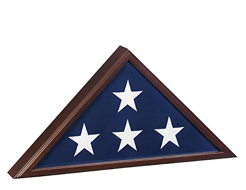 Made in USA Burial Flag Case for 5'x9.5' Flag - Cherry Finish by USMilitaryStuff
