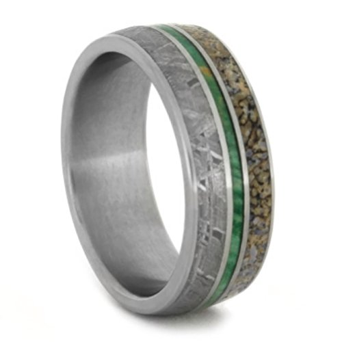 Gibeon Meteorite, Green Box Elder Burl Wood, Dinosaur Bone 8mm Comfort-Fit Matte Titanium Wedding Band, Size 12 by The Men's Jewelry Store (Unisex Jewelry)