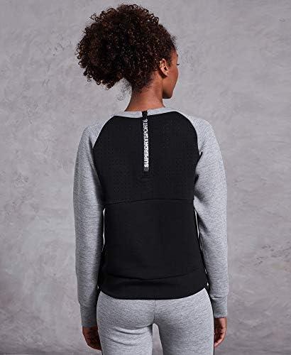 Superdry Core Gym Tech Panel Crew Damen Pullover City Grey Marl