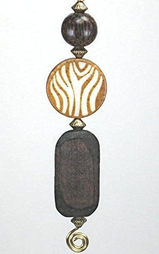 African Plains Brown Zebra Wood Ceiling Fan Pull Chain