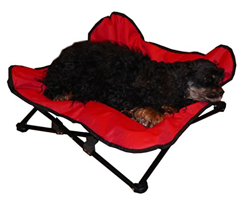 (HDP Elevated Padded Napper Cot Space Saver Pet Bed Color:Red Size:Medium)