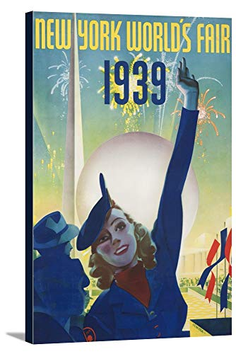 1939 Worlds Fair Poster - New York World's Fair 1939 Vintage Poster (artist: Staehle) USA c. 1939 (11 3/4x18 Gallery Wrapped Stretched Canvas)