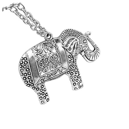 - Gbell Clearance! 60CM Lucky Elephants Pendant Necklace Sweater Long Neck Chain Retro Silver Necklaces for Girls Women (Silver)