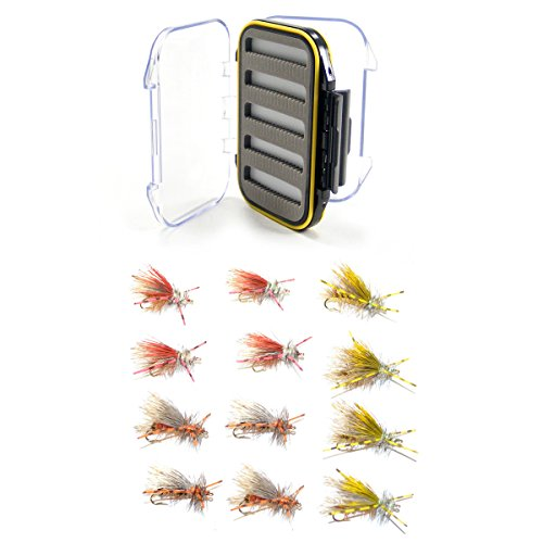Trout Fly Assortment Crystal Stimulators and Royal Stimulator Rubber Legs Trout Dry Fly 12 Flies - Waterproof Fly Box with Trout Fly - Stimulator Legs Rubber
