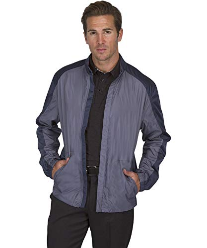 Three Sixty Six Full Zip Golf Jacket for Men - Lightweight Mens Rain Coat - Water Resistant Windbreaker Storm Grey