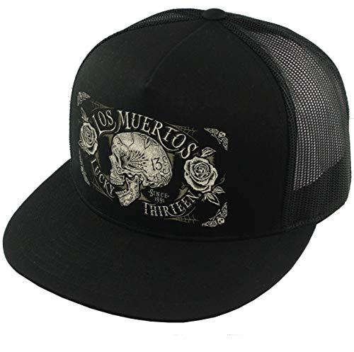 (Lucky 13 The Dead Skull Snapback Trucker Hat Black)