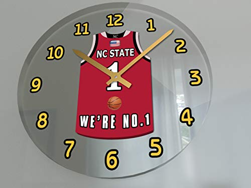 FanPlastic College Basketball USA - We're Number ONE College Hoops Wall Clocks - Support Your Team !!! (NC State Wolfpack)