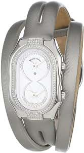 "Philip Stein Women's 14DP-IDW-IPLDW ""Prestige"" Pave Diamond Platinum Double Wrap Silk Calf Strap Dress Watch"
