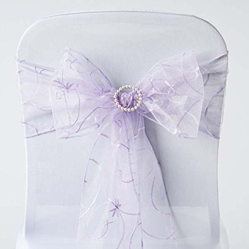 Efavormart 5pc x Lavender Leaf-Motif Organza Embroidered Chair Sash for Wedding Decor Chair Bow Sash Party Decoration Supplies ()