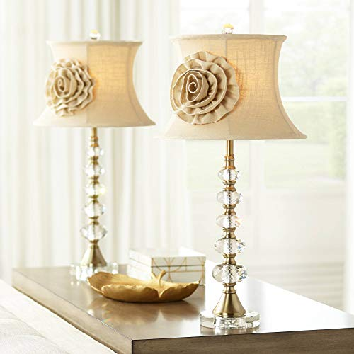 (Hilary Flower Shade Crystal Column Table Lamps Set of 2 - Vienna Full Spectrum)