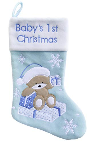 - MaxDigital Baby's First Christmas Stocking, My First Christmas Decoration for a Newborn, Blue