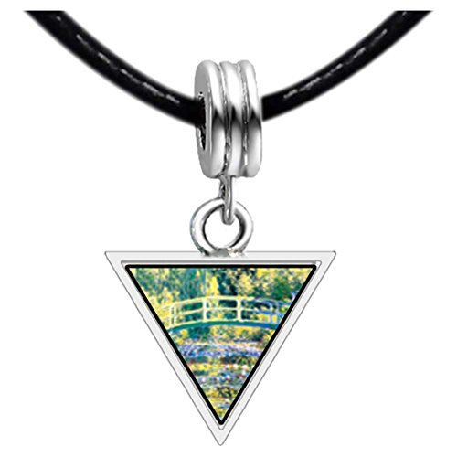 GiftJewelryShop Silver Plated Bridge At Giverny Photo Triangle European Bead (Giverny Photo)