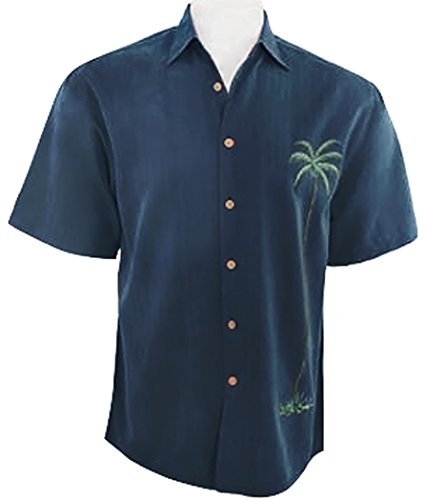 Front Button Navy Silk (Bamboo Cay - Solo Palm, Men's Tropical Style Embroidered Button Front Navy Sh.)