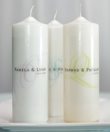 Modern Monogram Personalized Unity Candle - White