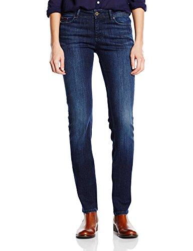 Stretch 989 Denim Mid Rise dark Donna Jeans Sandy Straight Nero Hilfiger HfzxWaqBwz