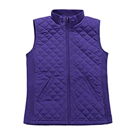 Bienzoe Women Casual Zip Quilted Sleeveless Light weight Vest Stretch Rib