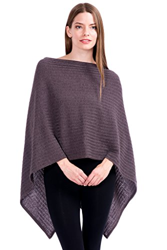 Modern Kiwi Solid Knit Short Asymmetric Wrap Poncho Topper Ribbed Brown One Size (Poncho Ribbed)
