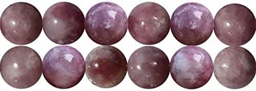 Abalorios de Piedras Preciosas Turmalina Rosa Naturales Bola de 10mm Perlas para Fabricar Joyas Cerca de los 38cm Aprox 35 Piezas