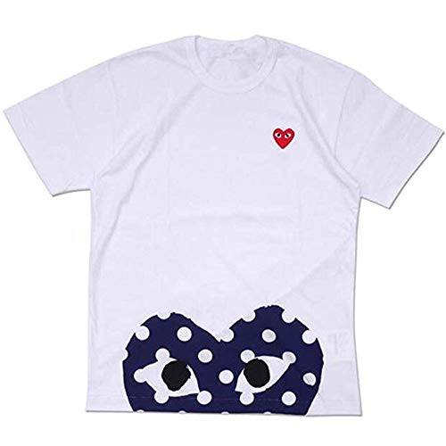 Red Heart Shirt - 116 - Red Dot Heart Polka Dot Tee T Shirt Unisex White Red (S)