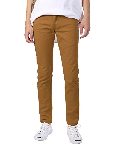 JD Apparel Men's Basic Casual Colored Skinny Fit Twill Jeans 32Wx32L Wheat