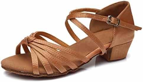 59252fa16 HIPPOSEUS Girls' Satin Latin Dance Shoes Ballroom Dancing Shoes,Model U203
