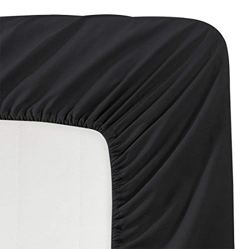 California King Deep Fitted Sheet - Luxe Bedding 100% Brushed Microfiber Solid Color Deep Pocket Fitted Sheet - Hotel Quality - Wrinkle, Fade, Stain and Abrasion Resistant (Cal King, Black)