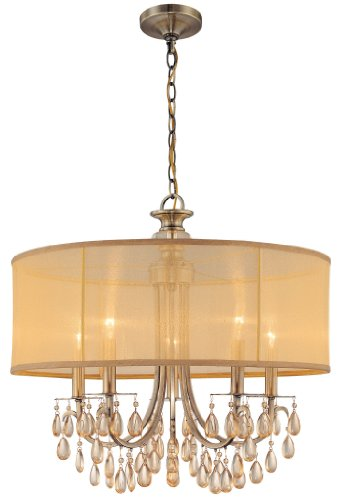 Brass Crystal Pendant (5625-AB Hampton 5LT Pendant, Antique Brass Finish with Gold Silk Fabric Shade and Etruscan Smooth Crystal)