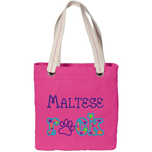 """Cherrybrook """"Maltese Rock"""" Embroidered Tote Bag - Tropical Pink"""