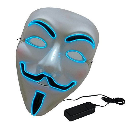 Creative Luminous EL Wire V for Vendetta Led Mask Halloween Light Up Cosplay Mask Costume Shine Mask for Festival Show Party Halloween Blue