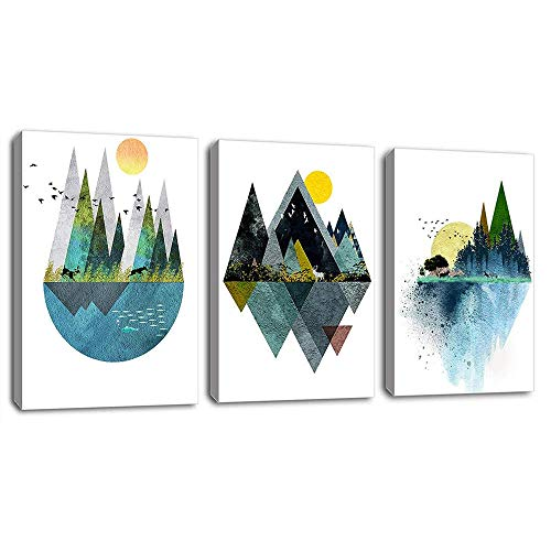 Wall Art for Living Room Sunset Canvas Prints Picture Bathroom Wall Decor Abstract Geometric Mountains Artwork Landscape Canvas Painting Deer Murals for Walls Bedroom Office 16x24Inchx3Pcs (Abstract Piece Art)