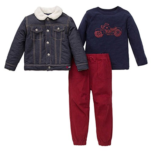 Little Me Boys' 3-piece Pant Set,Denim Red,12 Months