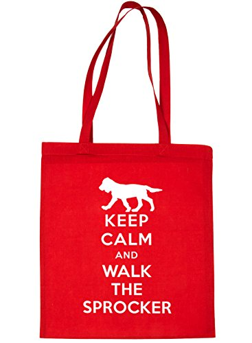 Print4u Shopping Tote Bag Keep Calm and Walk The Sprocker Dog Red