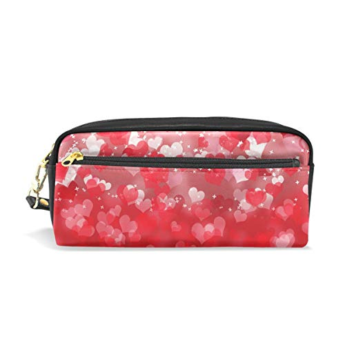 TropicalLife Valentine's Day Red Heart Shaped Pencil Case with Zipper PU Leather Large Capacity Stationery Pouch Cosmetic Makeup Bag - Personalized Heart Shaped Pen